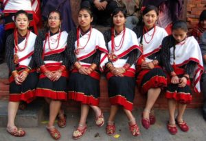 Newari girls during a local festival