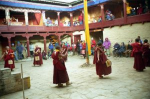 Monks dancing during Mani Rimdu