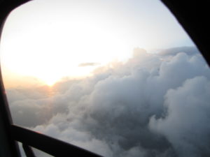 A view seen from inside the heli's window