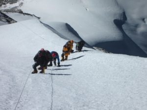 Climbers ascending from Camp II to the summit