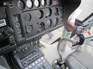 Inside heli cockpit