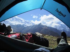 From inside tent at Pisang village